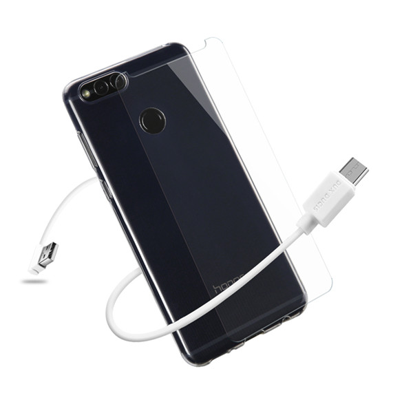 3IN1 Series TPU+USB Cable+Tempered Glass for Honor 7X