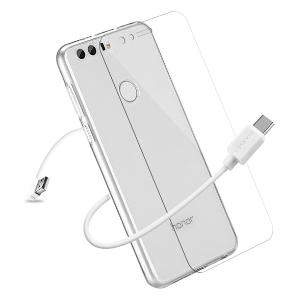3IN1 Series TPU+USB Cable+Tempered Glass for Honor 8
