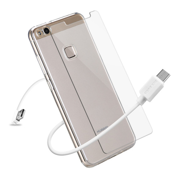 3IN1 Series TPU+USB Cable+Tempered Glass for Huawei P10 Lite