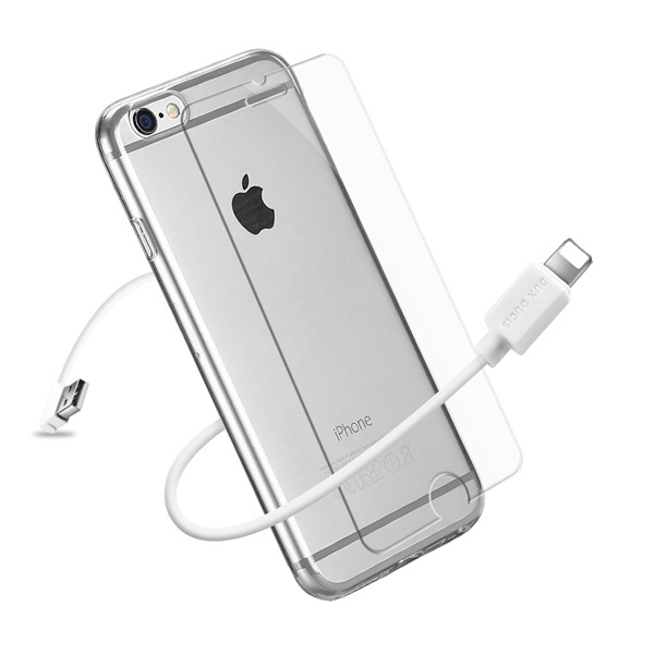 3IN1 Series TPU+USB Cable+Tempered Glass for iPhone 6 / 6S