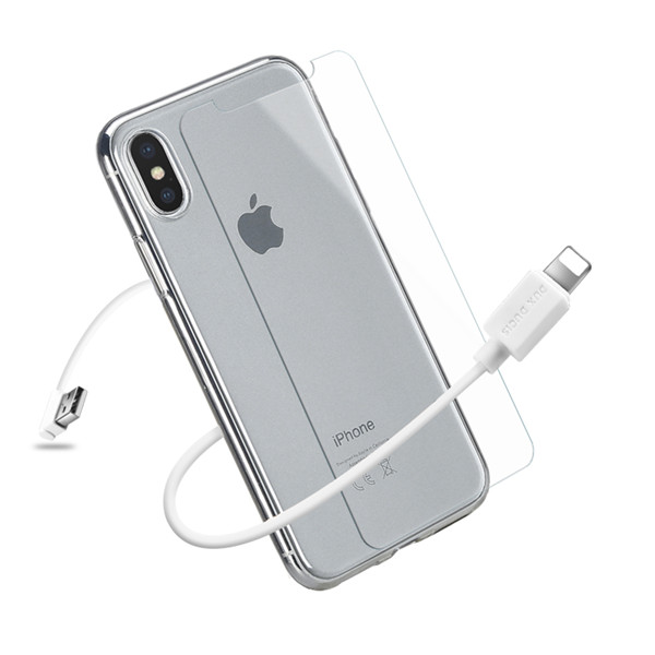 3IN1 Series TPU+USB Cable+Tempered Glass for iPhone X / iPhone XS